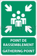 Affiche bilingue Point de rassemblement en cas d'évacuation : « Point de rassemblement / Gathering point » montrant un groupe de personnes et quatres flèches en blanc sur fond vert. Disponible en 4 différents formats sur alupanel.